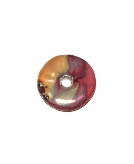 Donut cerámica  fucsia-crema 33mm, paso 5mm