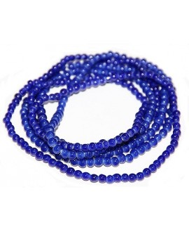 Vidrio reciclado azul brillo, Ghana , precio por ristra, 3/4mm paso 2mm