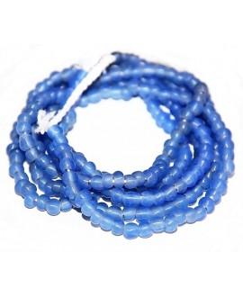 Vidrio reciclado azul transparente/mate, Ghana , precio por ristra, 5/6mm paso 2mm