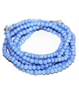Vidrio reciclado azul claro brillo, Ghana , precio por ristra, 5/6mm paso 2mm