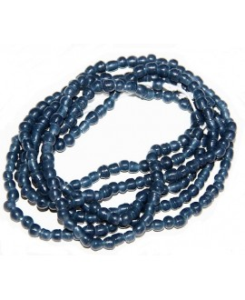 Vidrio reciclado azul petróleo mate, Ghana , precio por ristra, 5/6mm paso 2mm