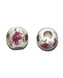 Porcelana flores  rosa porcelana 15mm, paso 6mm