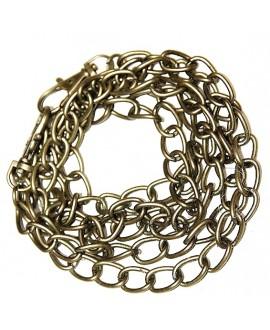 Cadena bronce doble anilla 14x10x1,5mm, precio por 116 cm y dos mosquetones