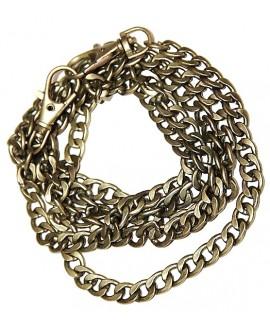 Cadena bronce doble anilla 10x8x1,5mm, precio por 116 cm y dos mosquetones