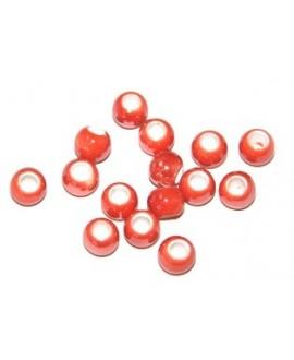 Cuentita de porcelana naranja 4x5mm, paso 2,5mm, precio por 12 unidades