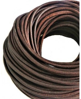 Cuero redondo 5mm, marrón medio. Calidad superior, precio por metro