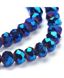 Rondel Cristal facetado electroplate azul  6x5mm paso 1mm, tira de 100 unidades