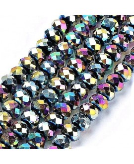 Rondel Cristal facetado electroplate multicolor 6x5mm paso 1mm, tira de 100 unidades
