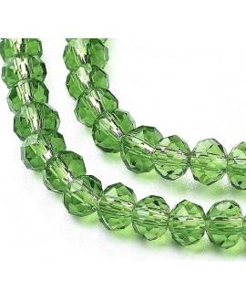 Rondel Cristal facetado verde 6x5mm paso 1mm, tira de 95 unidades