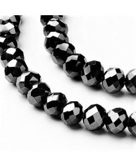 Rondel Cristal facetado chapado en lustre perlado/negro 4x3mm paso 1mm, tira de 149 unidades