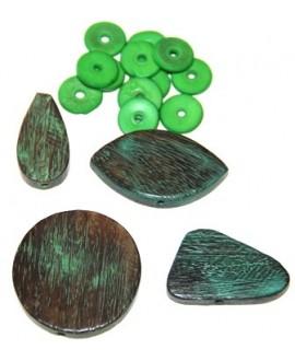 Cuenta madera mix verde, paso 2mm