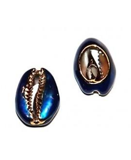 Conchas cauri para customizar electro-chapadas  azul/oro 23/25x16/18mm, precio por unidad