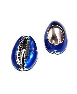 Conchas cauri para customizar electro-chapadas  azul/plata 23/25x16/18mm, precio por unidad