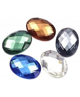 Cabuchon cristal ovalado 25x18mm fondo plano