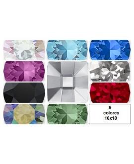 Cabujón cristal cuadrado fondo plano 10x10mm