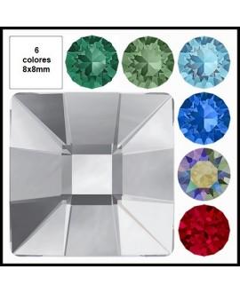 Cabujón cristal cuadrado fondo plano 8x8mm