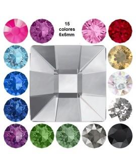 Cabujón cristal cuadrado fondo plano 6x6mm, precio por 5 unidades
