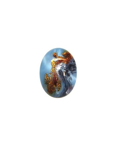 Cabuchón artesanal cristal checo 40x30mm color de seda-azul