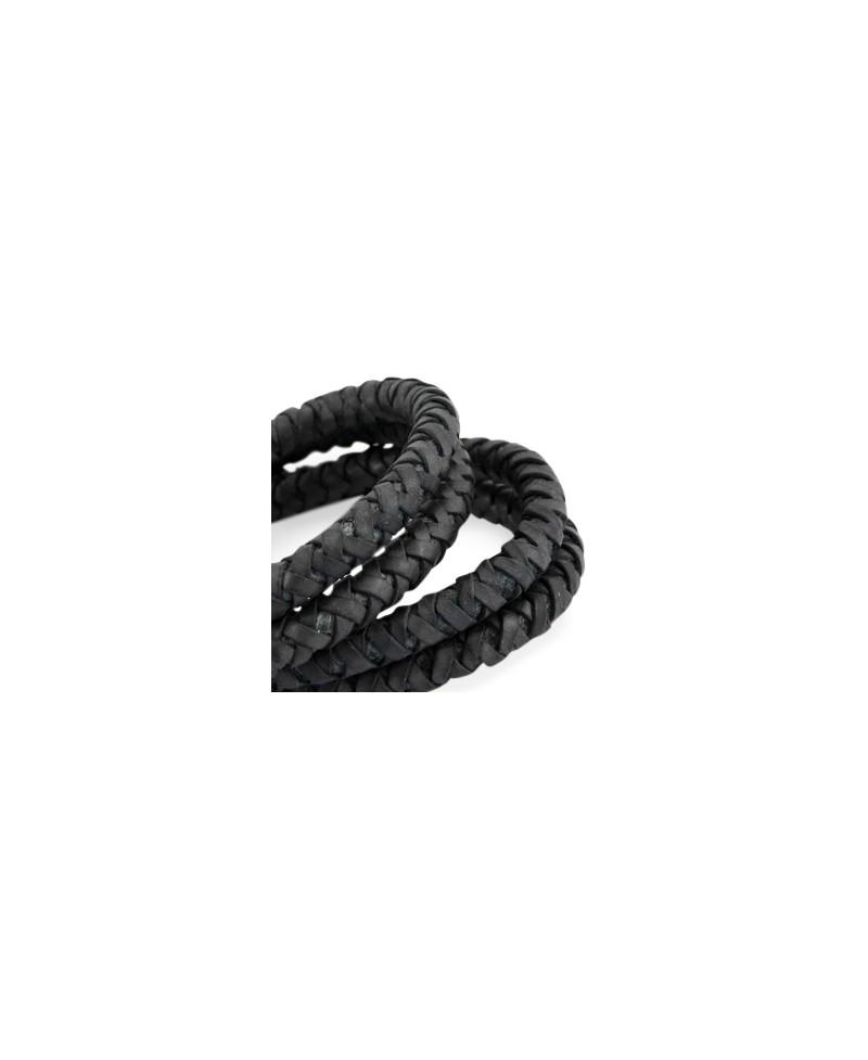 3bfea27bdbbe Cordón de cuero 6mm trenzado redondo, negro mate calidad superior, precio  por metro
