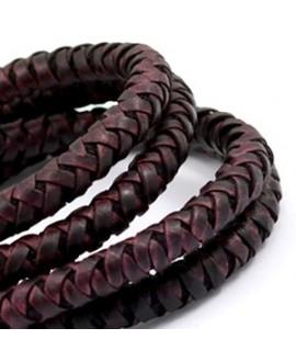 Cordón de cuero  6mm trenzado redondo, rojo port royal vintage, calidad superior, precio por metro