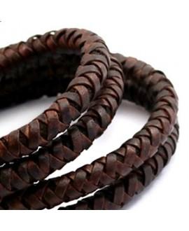 Cordón de cuero  6mm trenzado redondo, marrón auburn vintage, calidad superior, precio por metro
