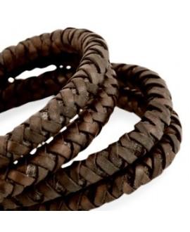 Cordón de cuero  6mm trenzado redondo, chocolate oscuro vintage, calidad superior, precio por metro