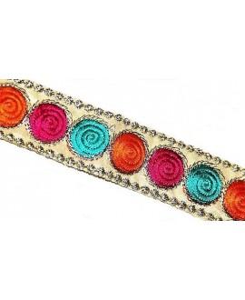 Cinta étnica bordada de algodón 2,5 cm de ancho, precio por metro