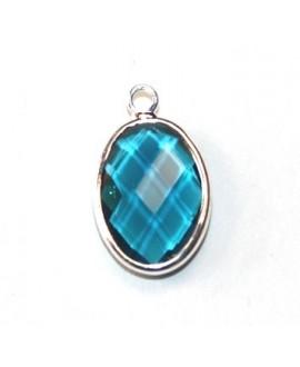 Colgante con cristal azul 15x10mm