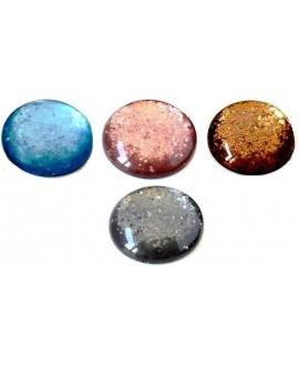 Cabujón resina polaris 20mm azul brillantina