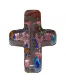 Colgante cristal artesanal cruz colores 20mm, paso 1mm