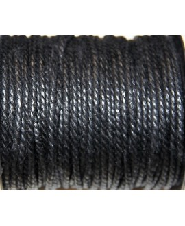 Hilo algodón trenzado 3mm negro, precio por 5 metros