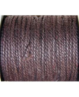 Hilo algodón trenzado 3mm marrón oscuro, precio por 5 metros
