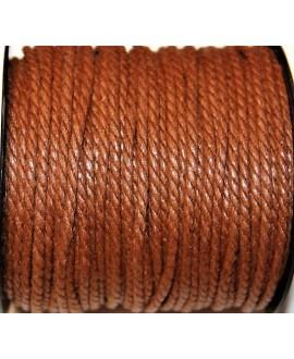 Hilo algodón trenzado 3mm marrón medio, precio por 5 metros