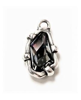 Colgante SWAROVSKI/zamak baño de plata 25x14mm paso 3mm, Cristal black diamond