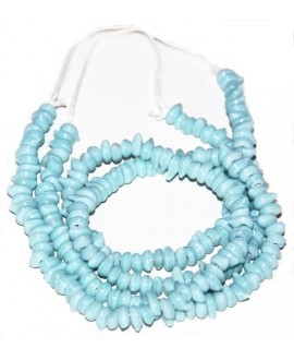 Vidrio reciclado irregular azul de Etiopía, 4x8mm paso 2mm, precio por ristra