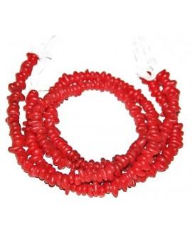Vidrio reciclado irregular rojo de Etiopía, 4x8mm paso 2mm, precio por ristra