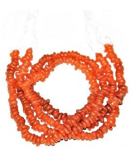 Vidrio reciclado irregular naranja de Etiopía, 4x8mm paso 2mm, precio por ristra