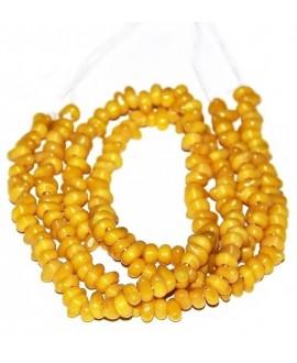 Vidrio reciclado irregular amarillo de Etiopía, 4x8mm paso 2mm, precio por ristra