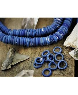 Cuentas donut Dogon de vidrio azul, antiguas