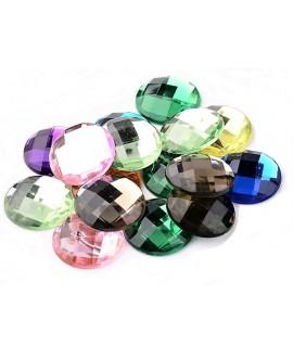 Cabuchon cristal redondo 30mm fondo plano