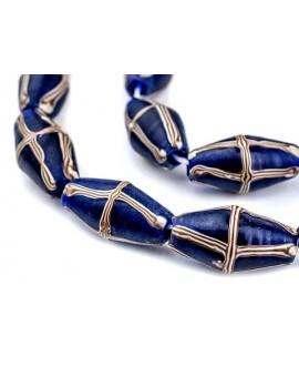 Cuentas azul cobalto cruz francesa 22/24x13mm paso 3mm, hechas en Java, precio por ristra