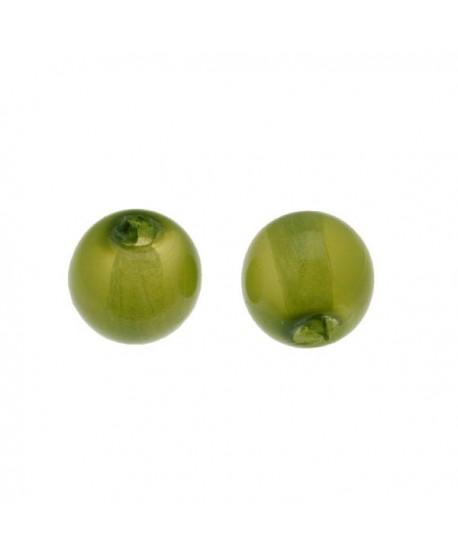 Cuenta lisa de cristal opalina de color verde olivina 5mm paso 0,5mm, precio por 25 unidades