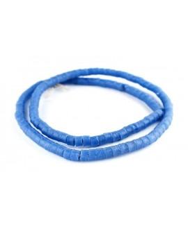 Cuentas cilindro Sandcast azul claro 6x7mm, paso 3mm, 70 cuentas aprox