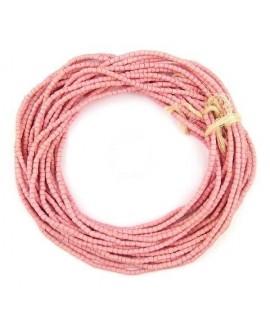 Cuentas cilindro Sandcast rosa 3/3mm, paso 1mm, 280 cuentas aprox