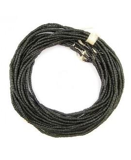 Cuentas cilindro Sandcast negro 3/3mm, paso 1mm, 280 cuentas aprox
