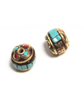 Cuenta  Tibetana bronce, turquesa y coral  13x16mm paso 1mm