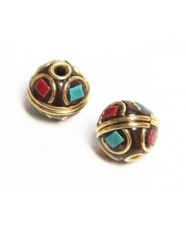 Cuenta  Tibetana bronce, turquesa y coral 10x12mm paso 2mm.