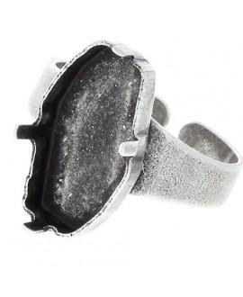 Base de anillo ajustable para swarovski 4773, 18x9.5mm, latón baño de plata