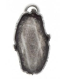 Colgante para swarovski 4773 18x9,5mm, paso 2mm, latón baño de plata