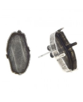 Base pendientes para swarovski 4773 18x9,5mm, latón baño de plata